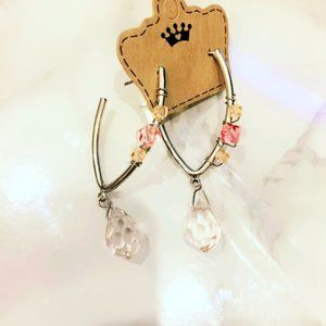 Pink and Silver Tone Heavy Beaded Earrings